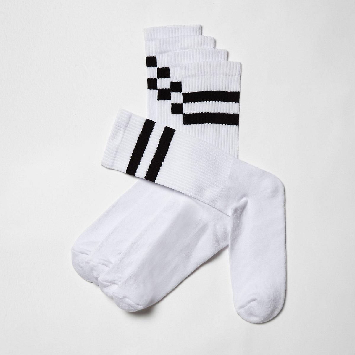Big and Tall – Weiße, gestreifte Socken, 5er-Pack