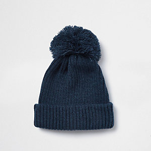 Navy bobble top beanie hat
