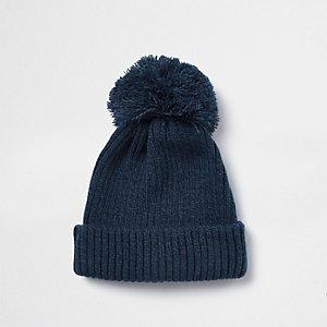 Navy bobble top beanie hat