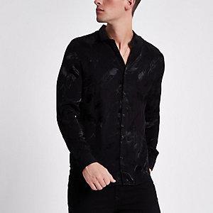 Chemise cintrée en jacquard noir chiné