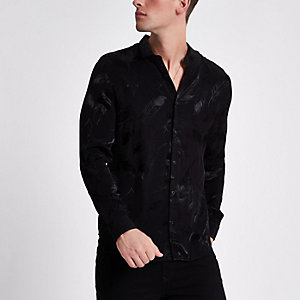 Zwart jacquard slim-fit overhemd met verenprint