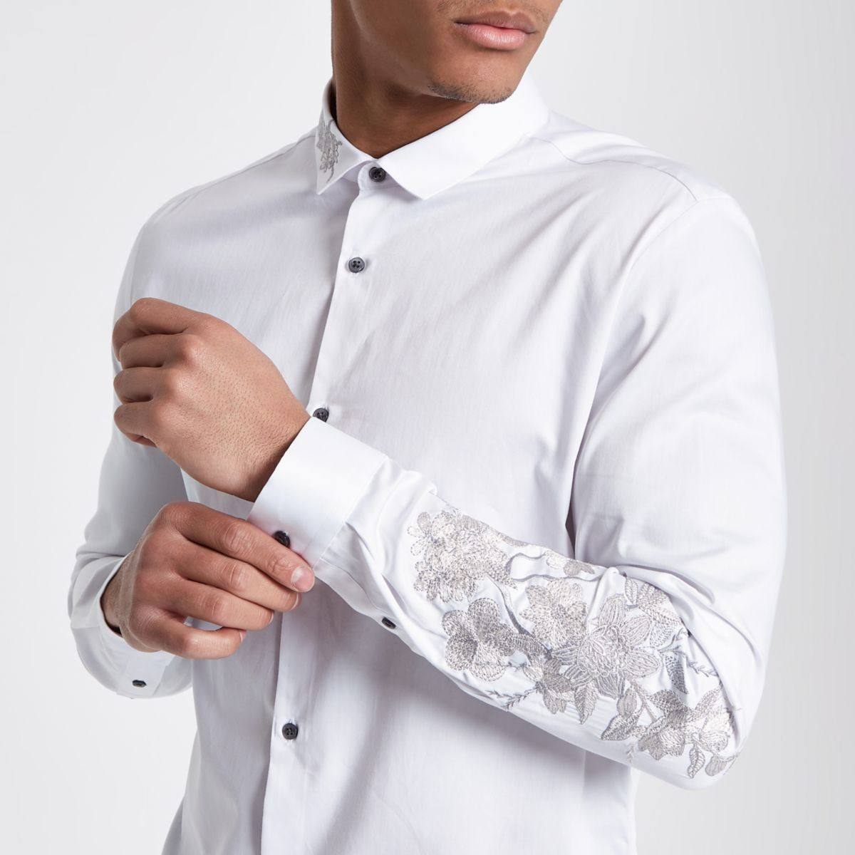 White floral embroidered slim fit shirt