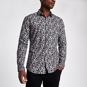Pink floral slim fit long sleeve shirt