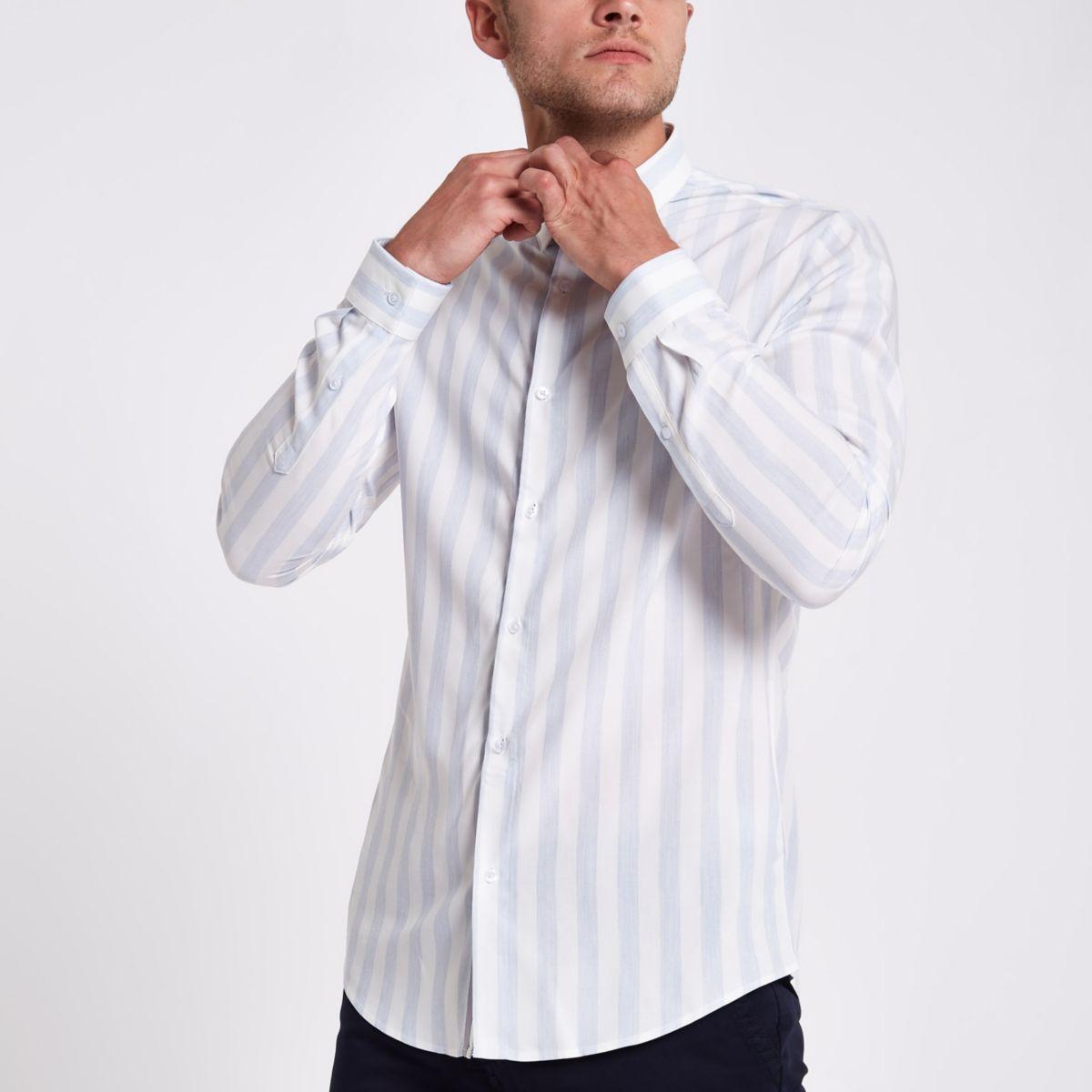 Light blue slim fit stripe shirt