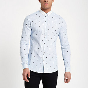 Light blue stripe wasp slim fit shirt