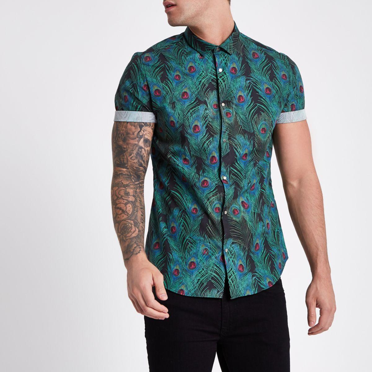 Black peacock short sleeve slim fit shirt