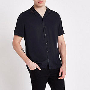 Navy lurex embroidered revere shirt