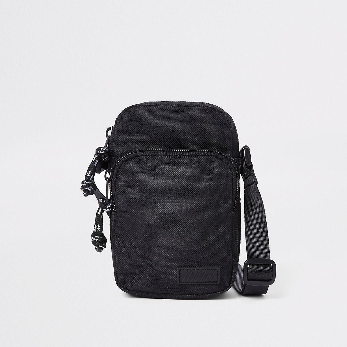 Black mini cross body flight pouch