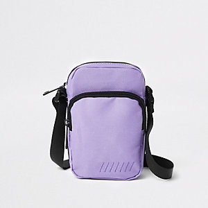 Purple mini cross body flight pouch
