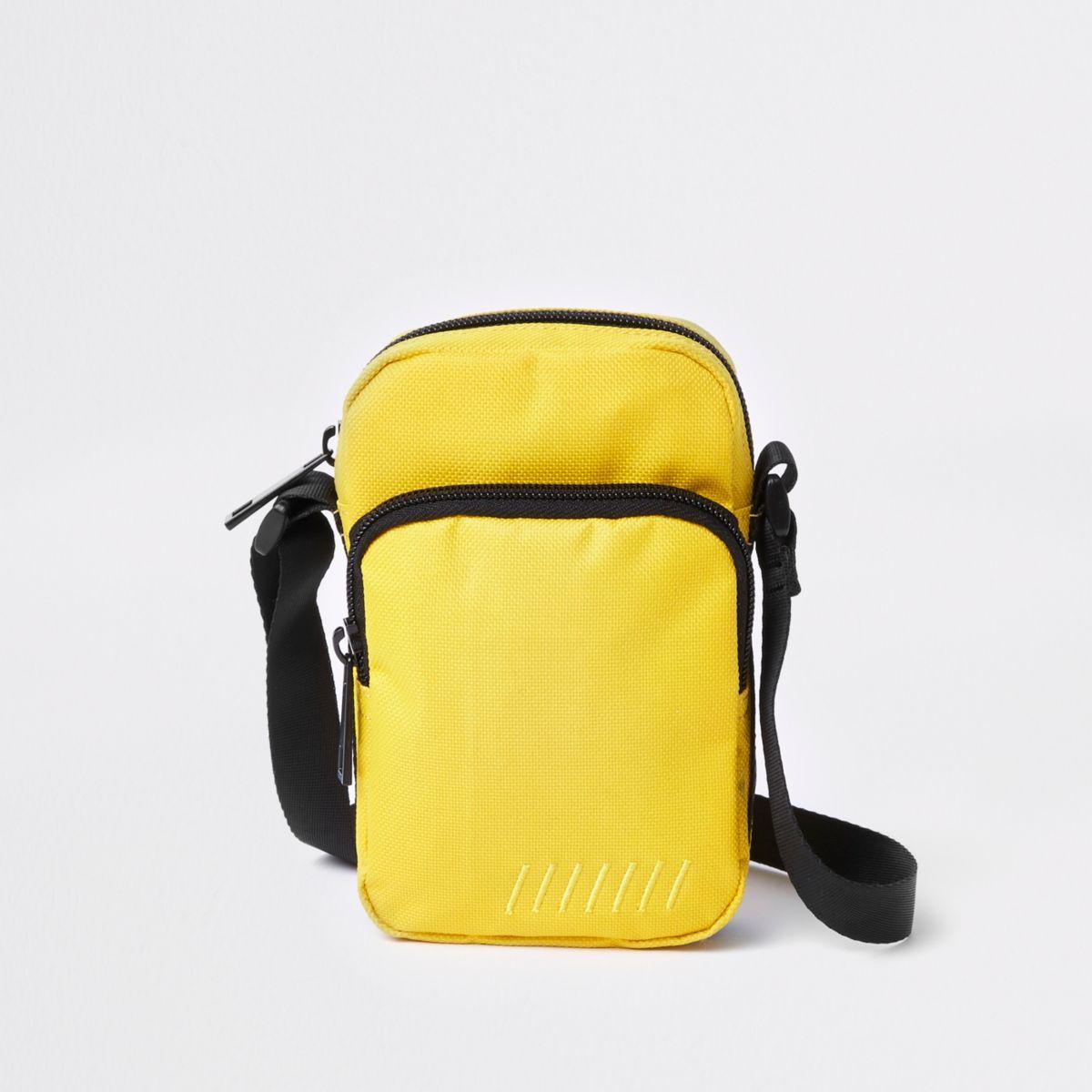 Yellow mini cross body flight pouch