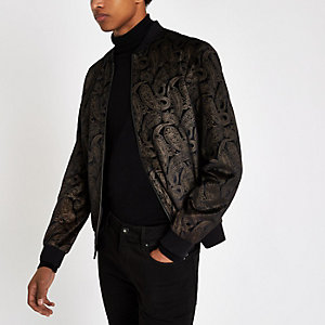 Brown and gold paisley velvet bomber jacket