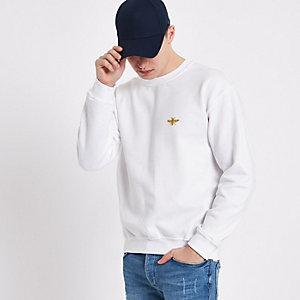 Wit sweatshirt met wesp en ronde hals