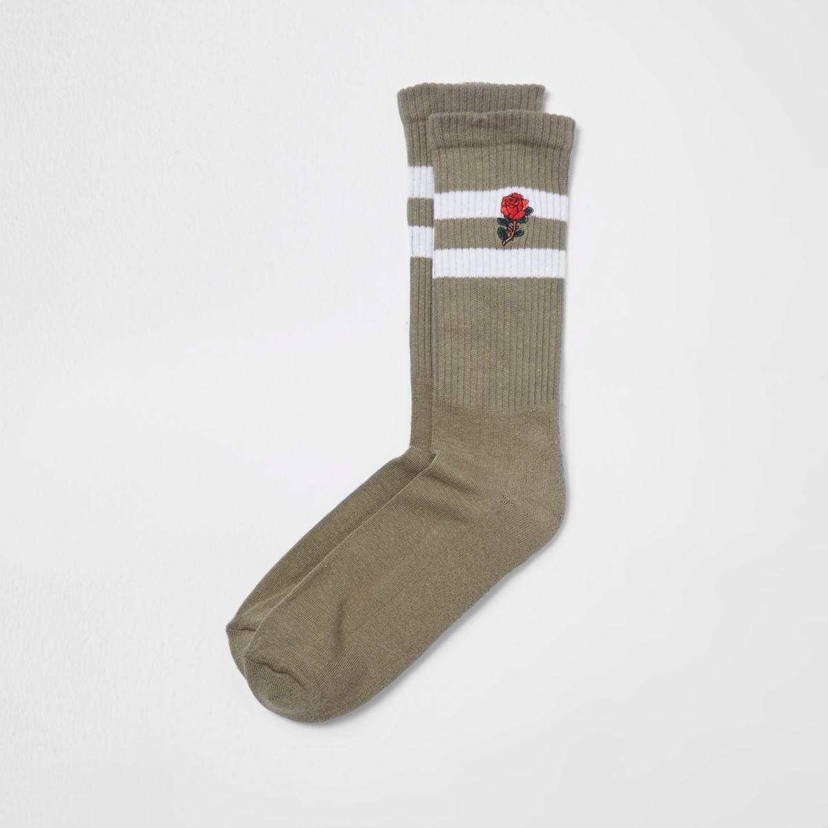 Green rose embroidered stripe tube socks
