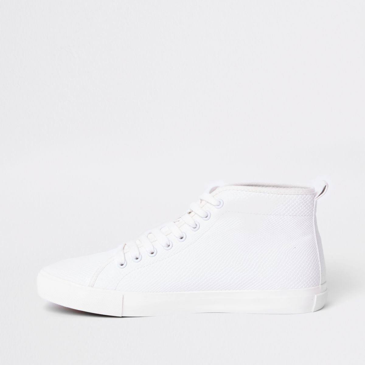 White croc embossed mid top plimsolls