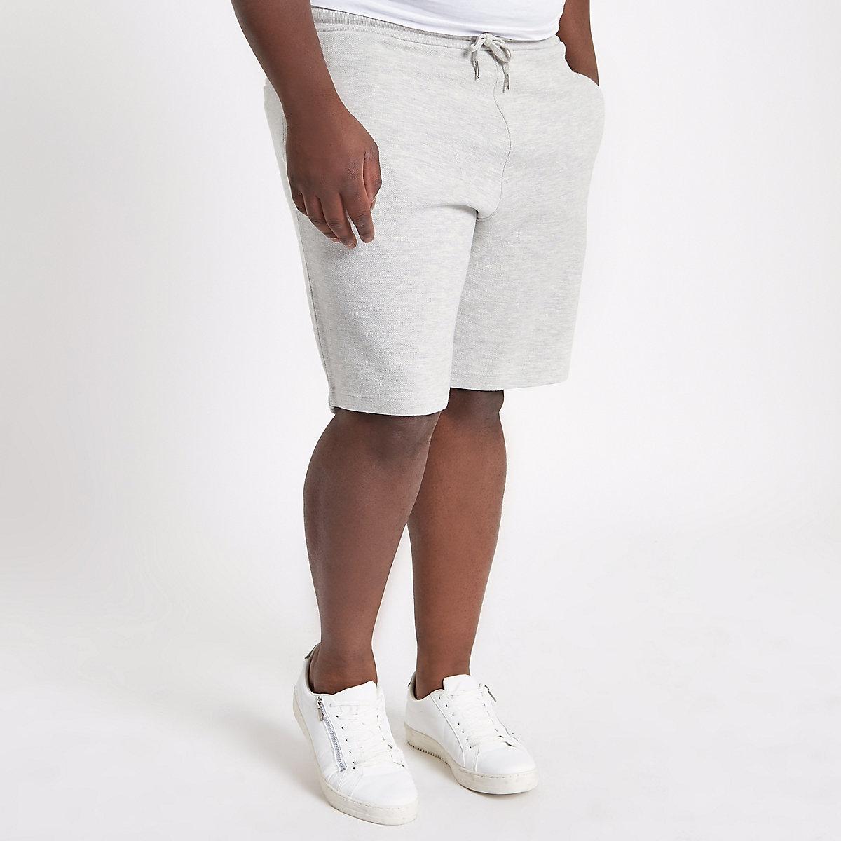 Big and Tall light grey pique shorts