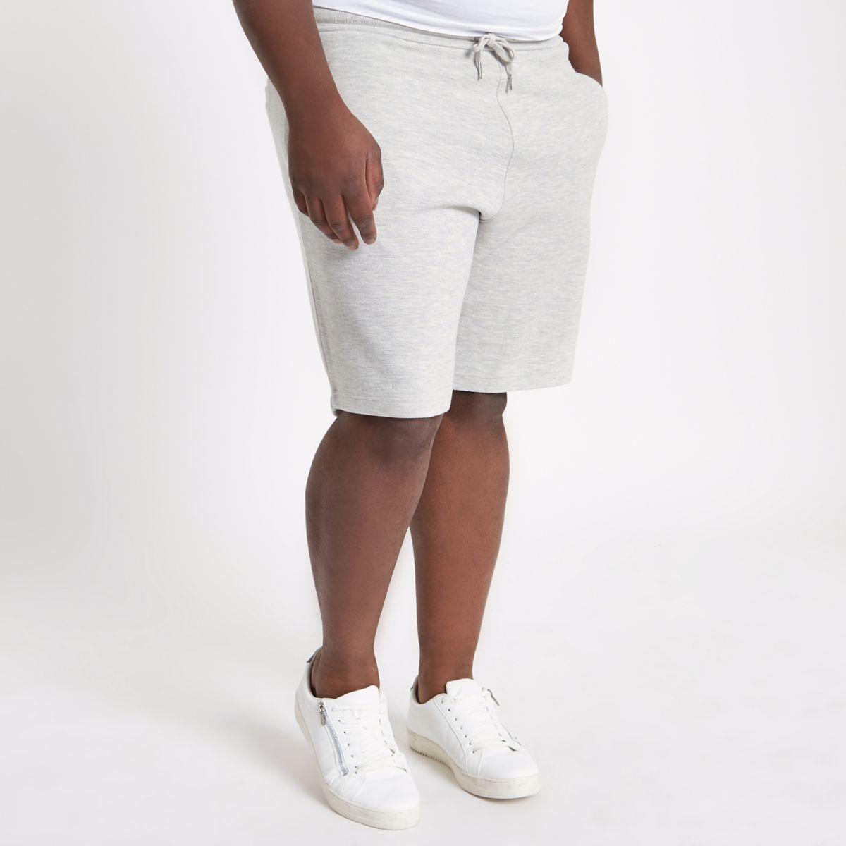 Mens Big and Tall light Grey pique shorts River Island