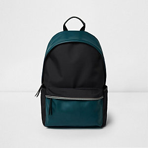 Black colour block backpack