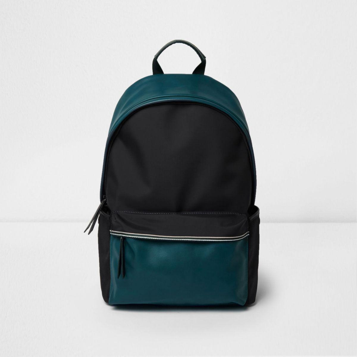 Black color block backpack