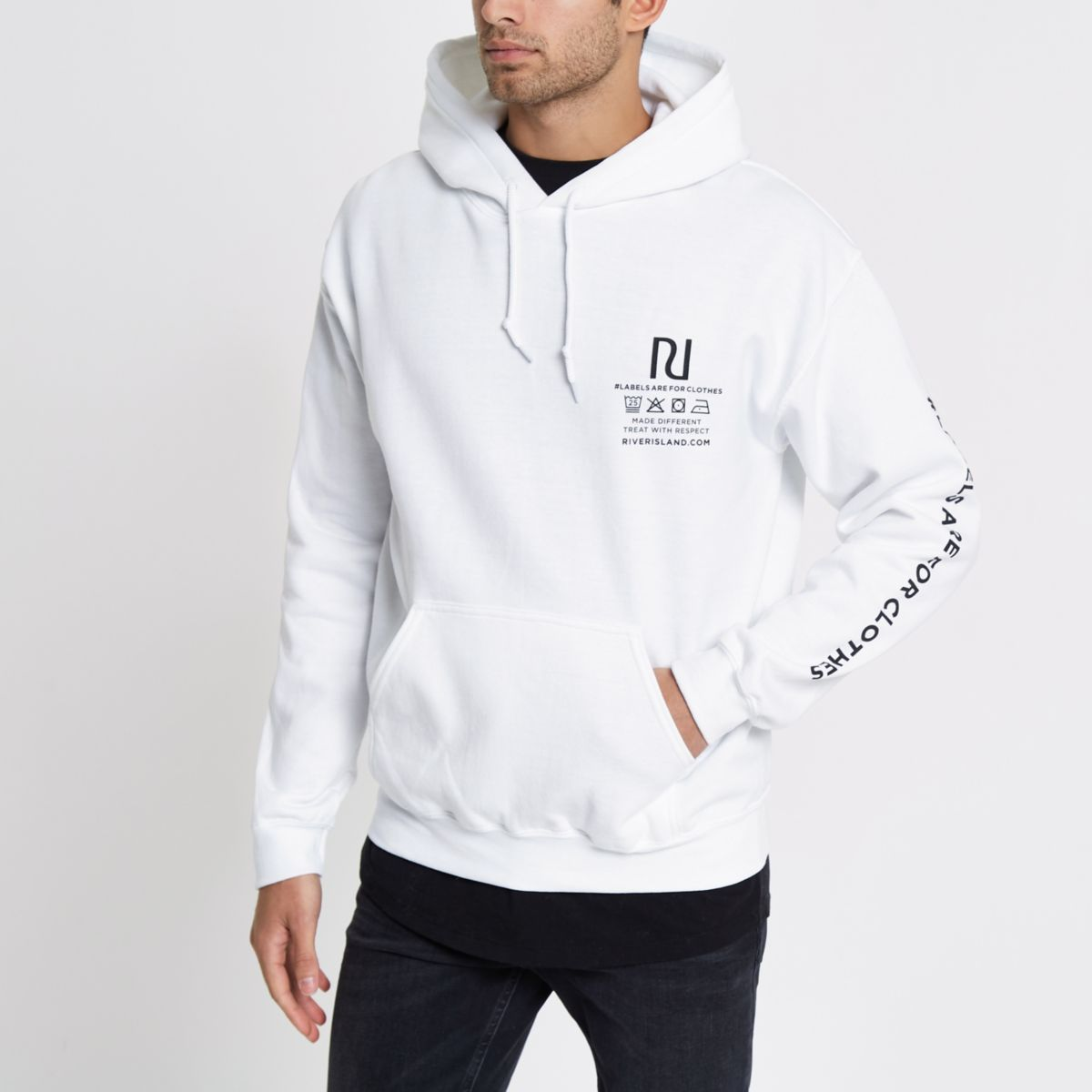 White Ditch the Label charity print hoodie