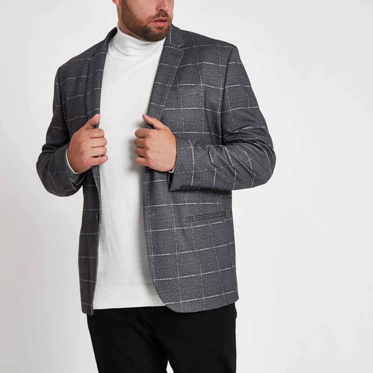Big & Tall grey check skinny fit blazer