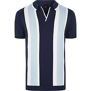 Big & tall – Polo en maille rayé bleu avec col à revers