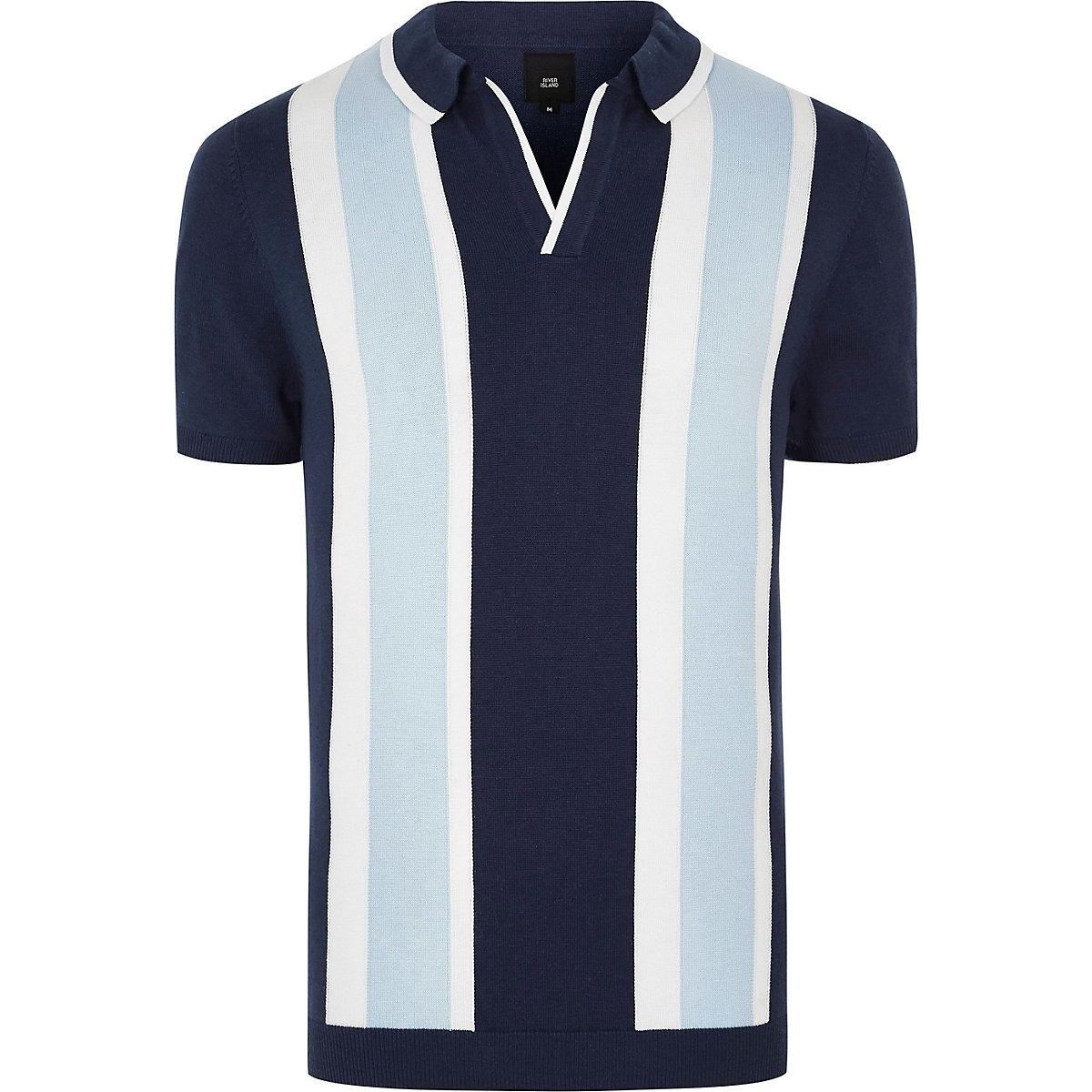 Big & tall blue stripe revere knit polo shirt