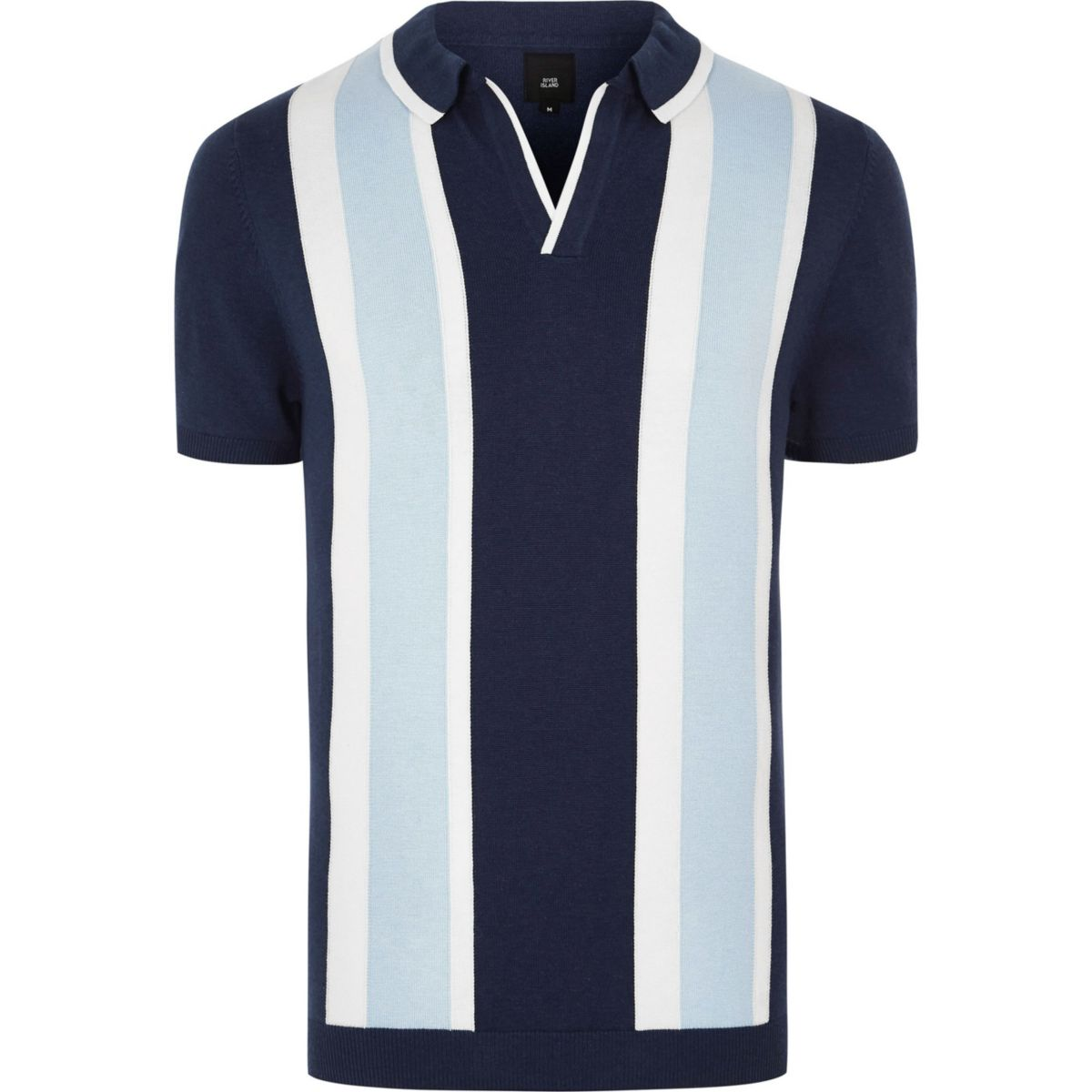 Big & tall blue stripe revere knit polo shirt