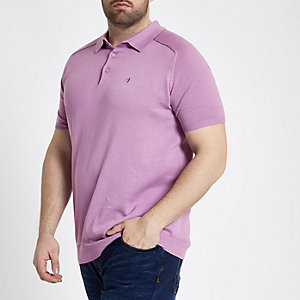 Big & Tall lilac wasp knit polo shirt