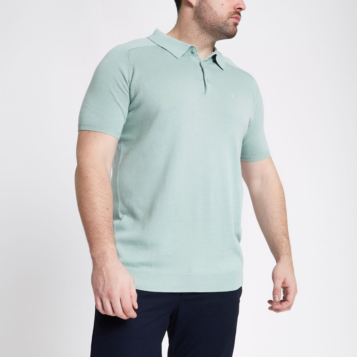 Big and Tall green slim fit polo shirt