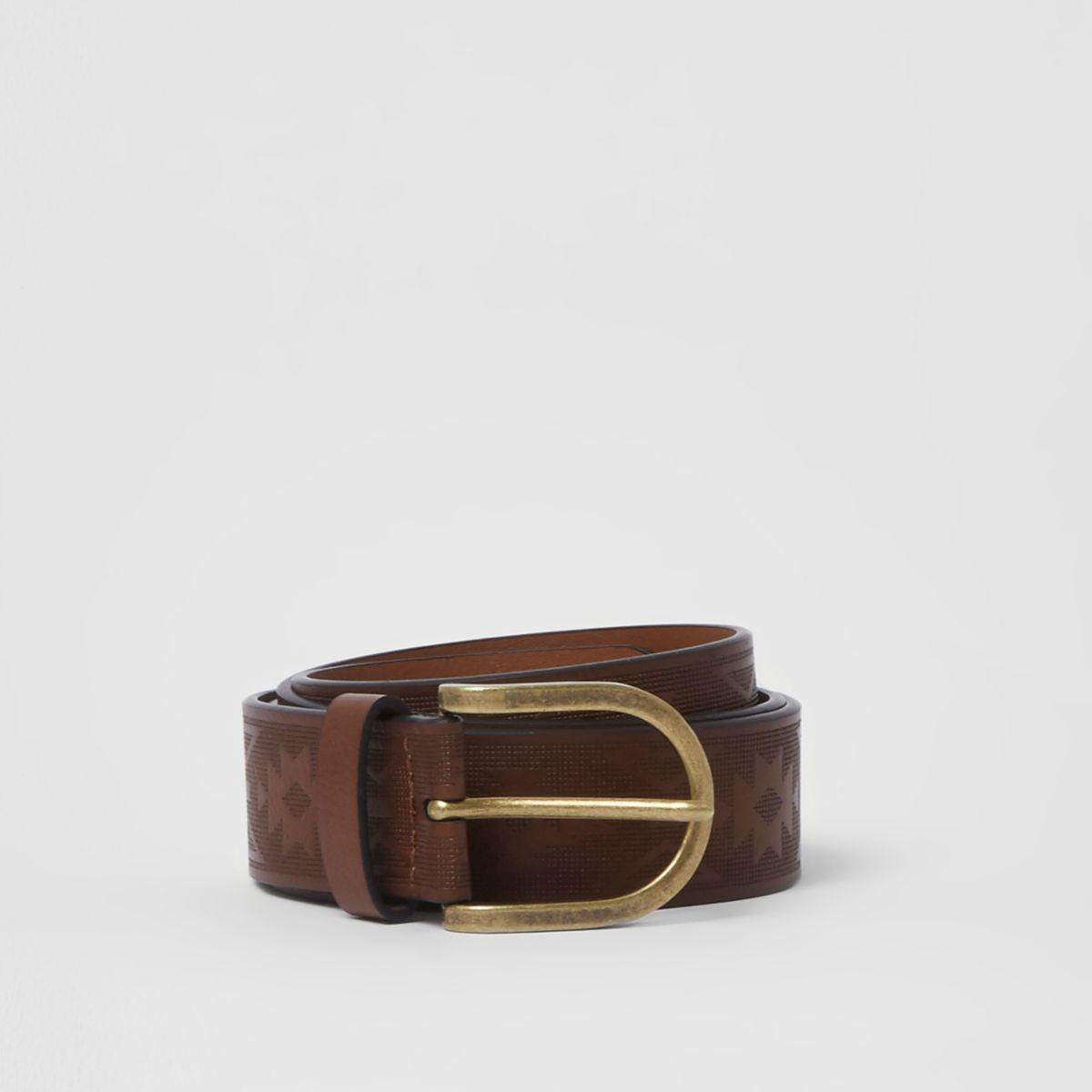 Brown embossed gold tone buckle belt
