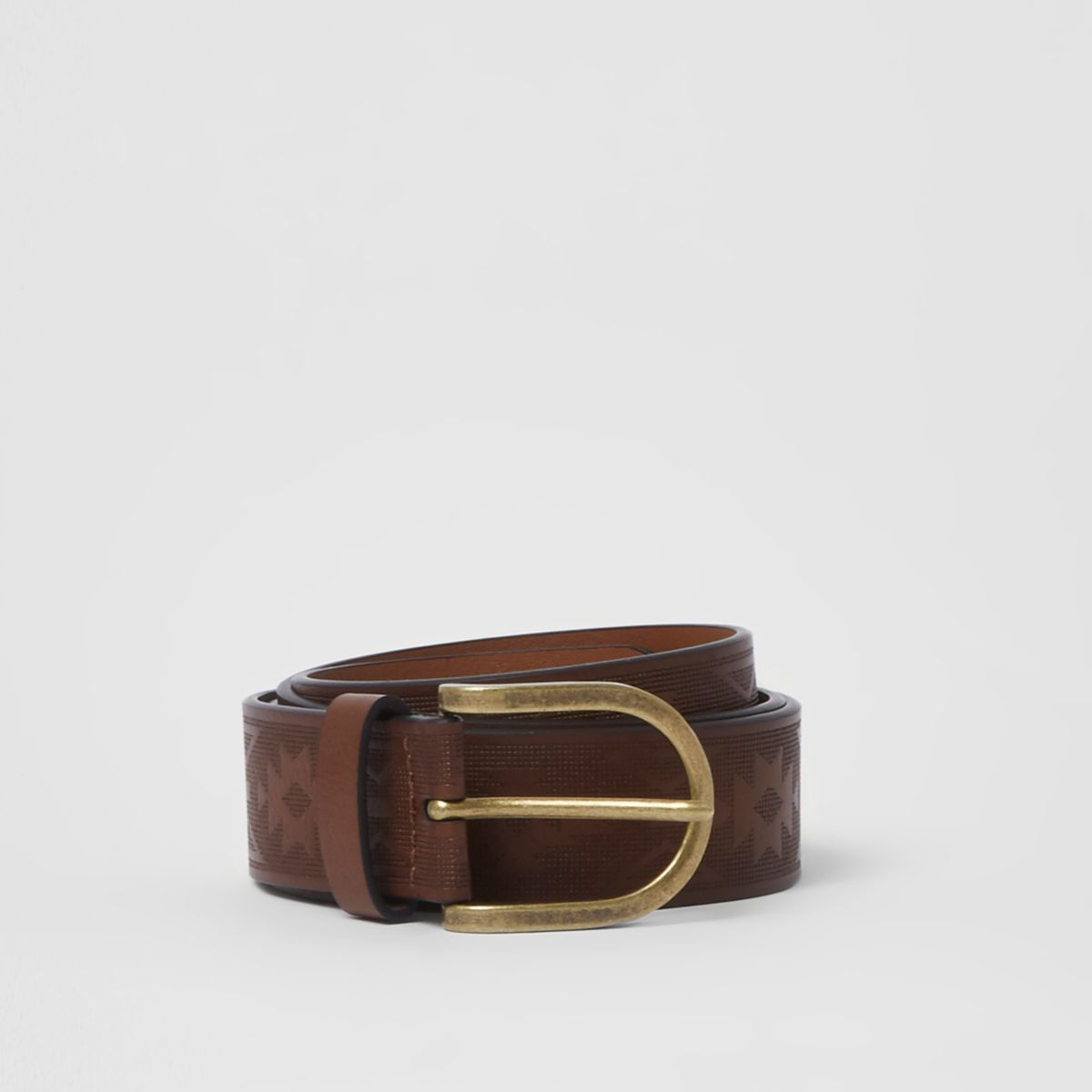 Brown embossed gold tone buckle belt
