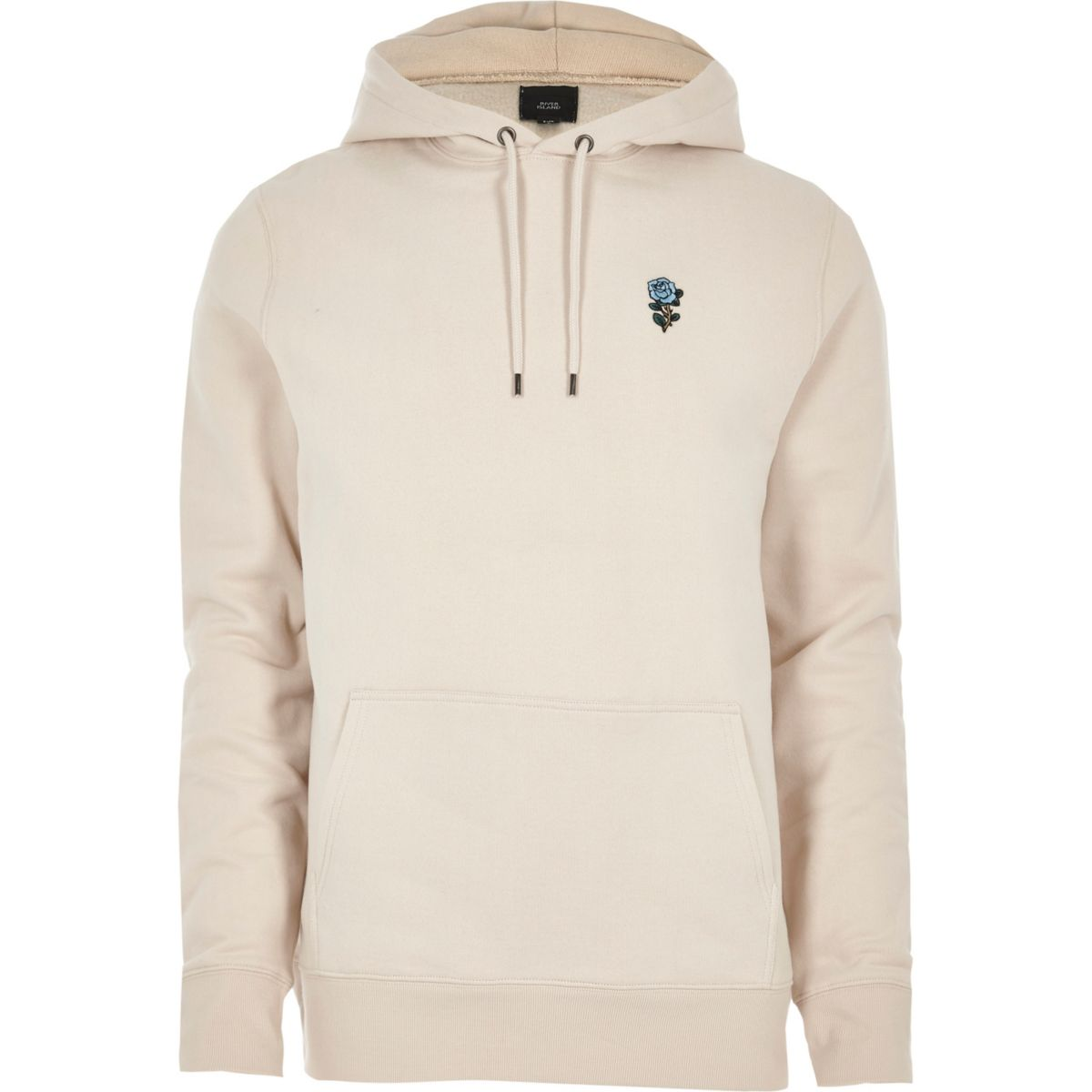 Stone rose embroidered hoodie