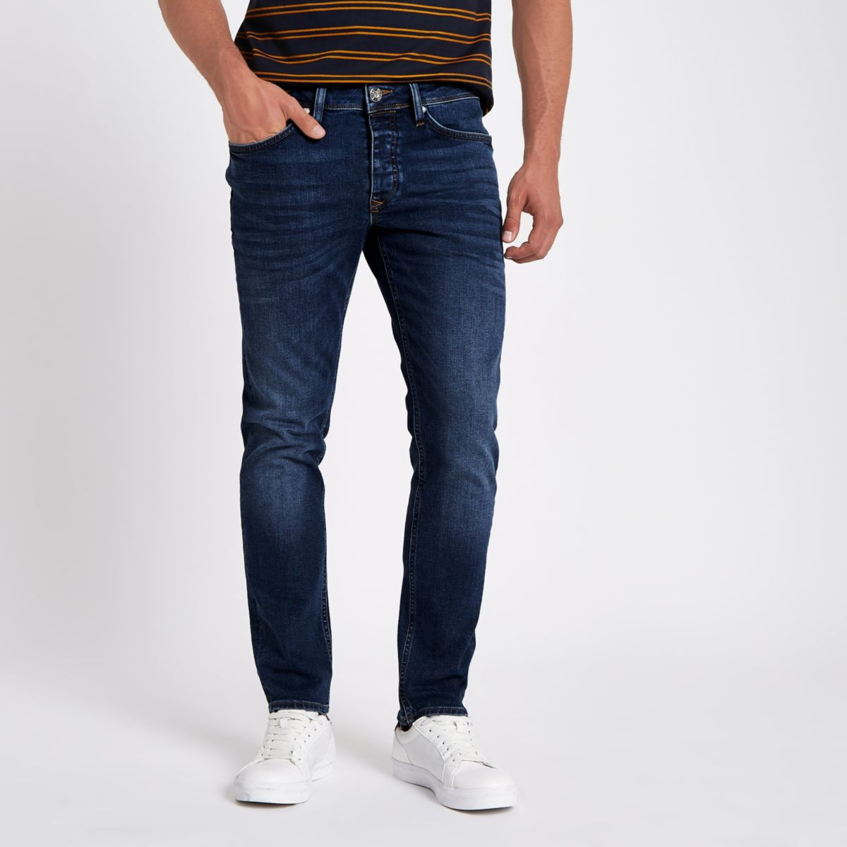 Dark blue Dylan slim fit denim jeans