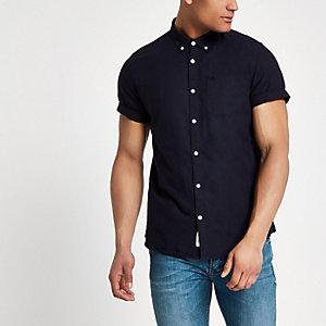 Marineblauw geborduurd Oxford overhemd met wespenprint