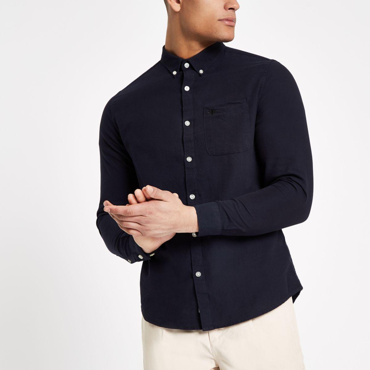 Navy wasp embroidered pocket Oxford shirt