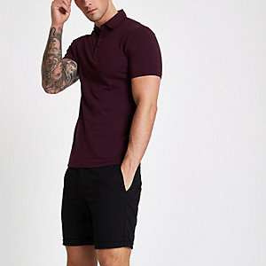 Dunkelrotes Muscle Fit Poloshirt