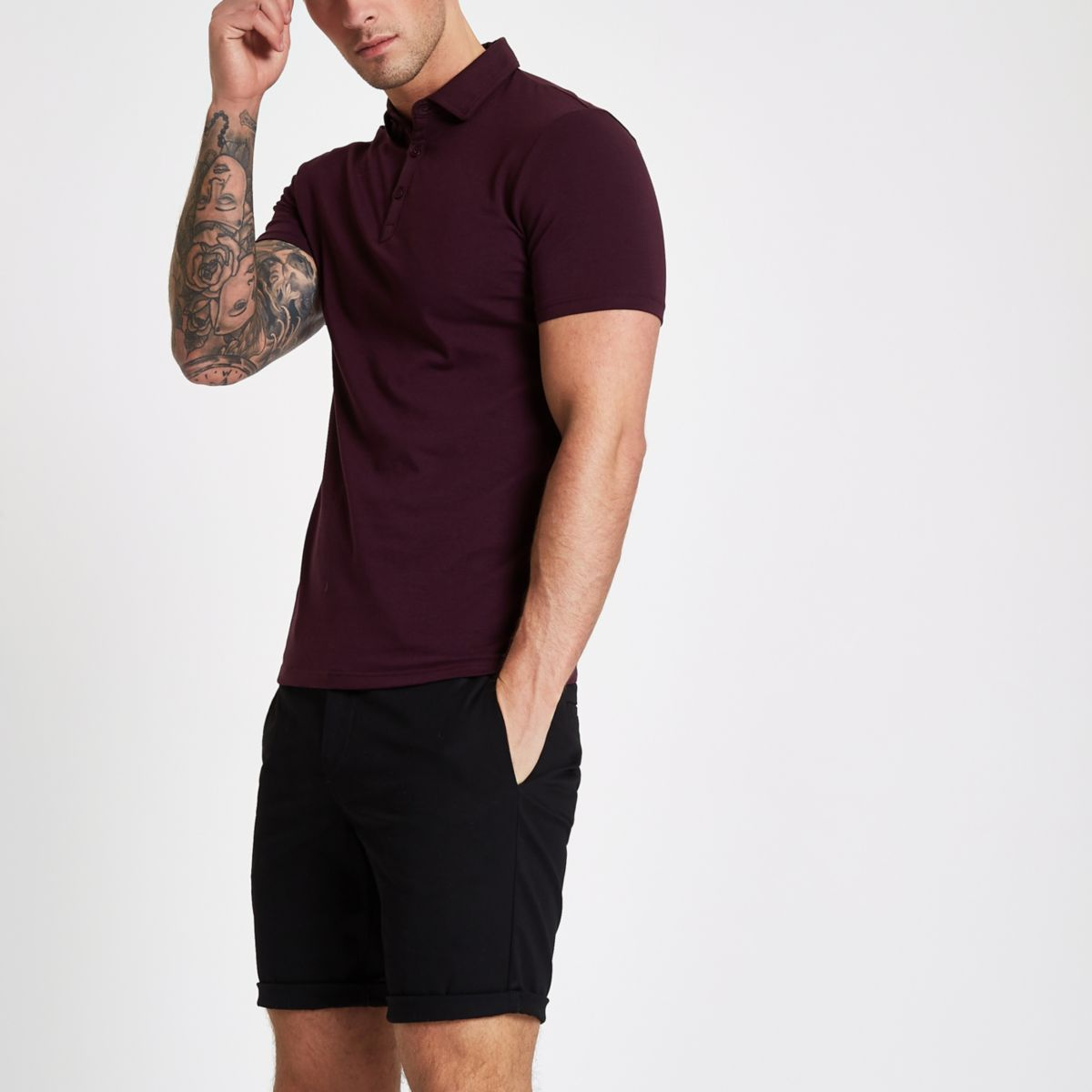 Dark red essential muscle fit polo shirt