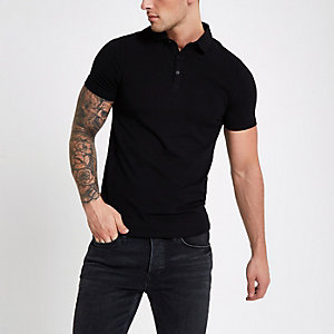Schwarzes Muscle Fit Poloshirt