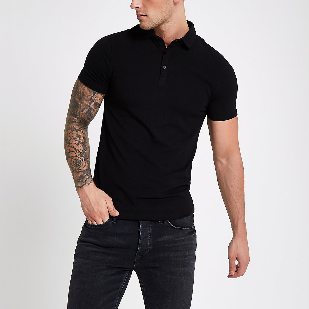 Black essential muscle fit polo shirt - Polo Shirts - men