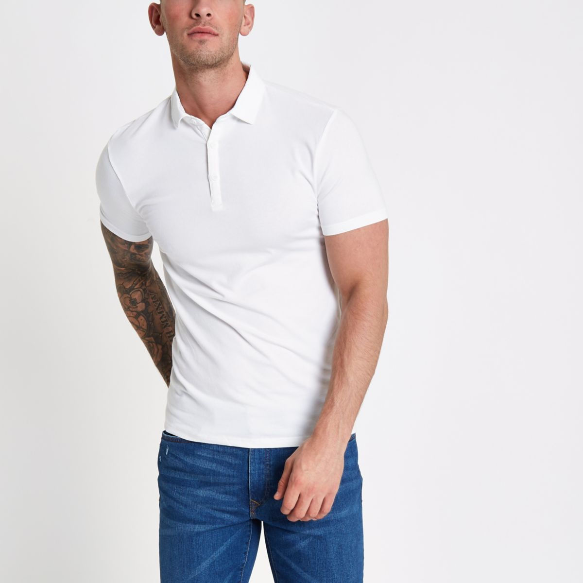 White Essential Muscle Fit Polo Shirt by River Island