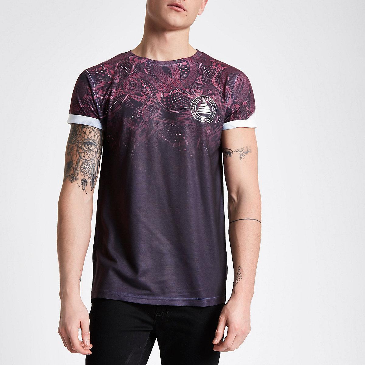 Red snake fade print T-shirt