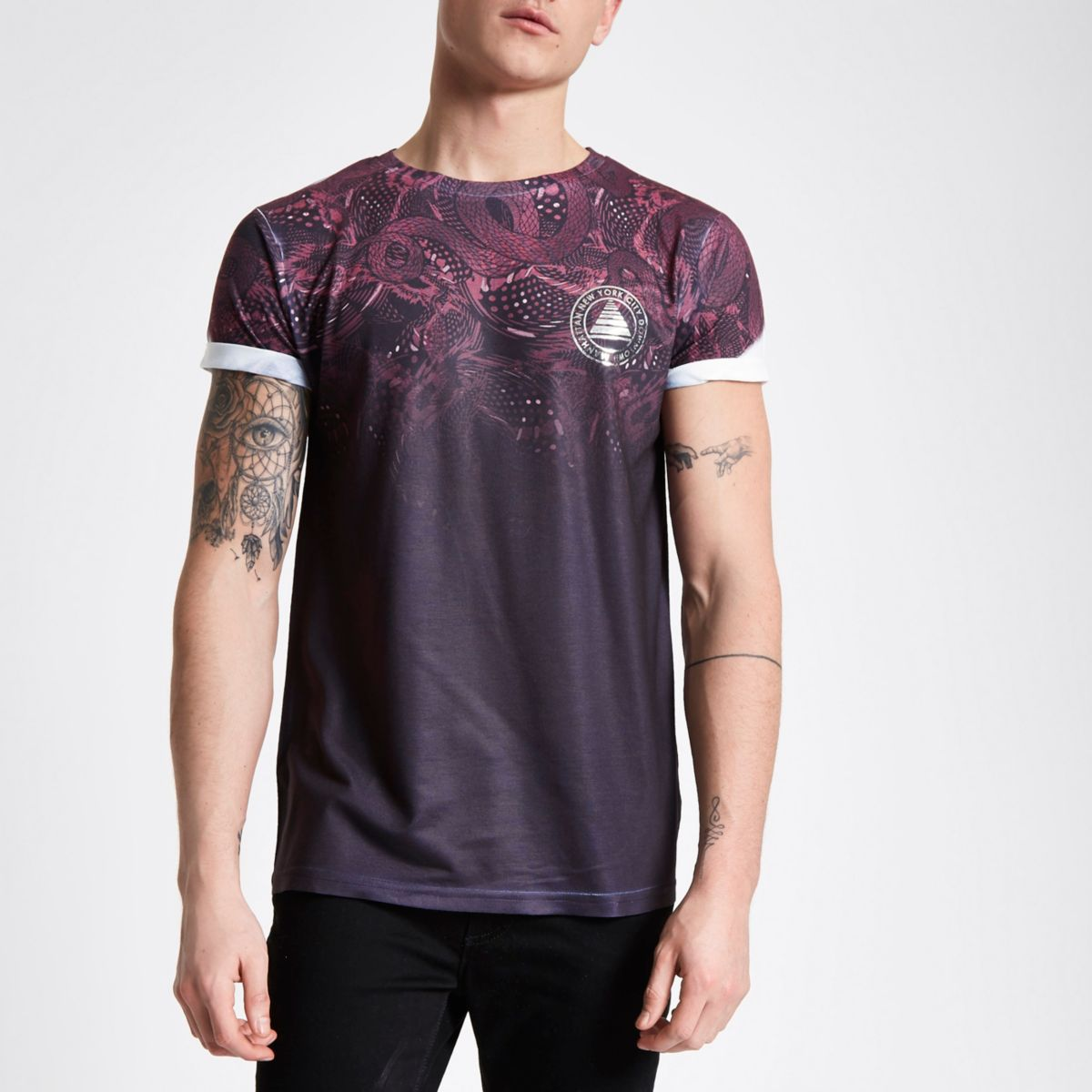 Red snake fade print T-shirt