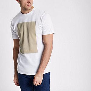 """Weißes und steingraues Slim T-Shirt """"BRX/LDN"""""""