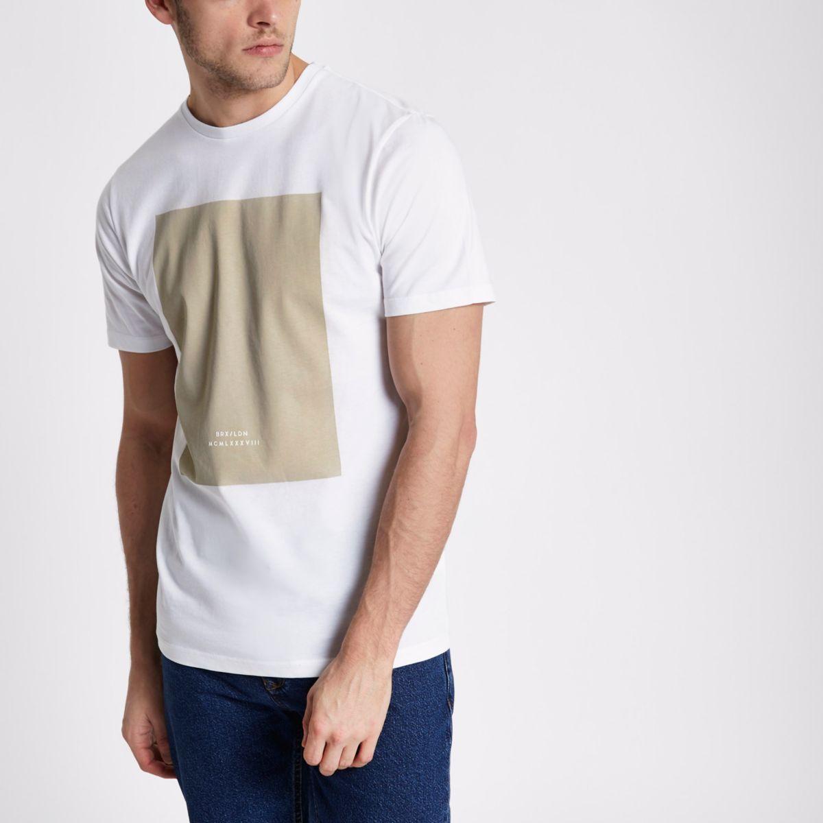White 'BRX / LDN' stone box slim T-shirt