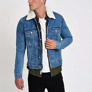 Blue fleece collar denim jacket