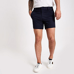 Navy tape side slim fit chino shorts
