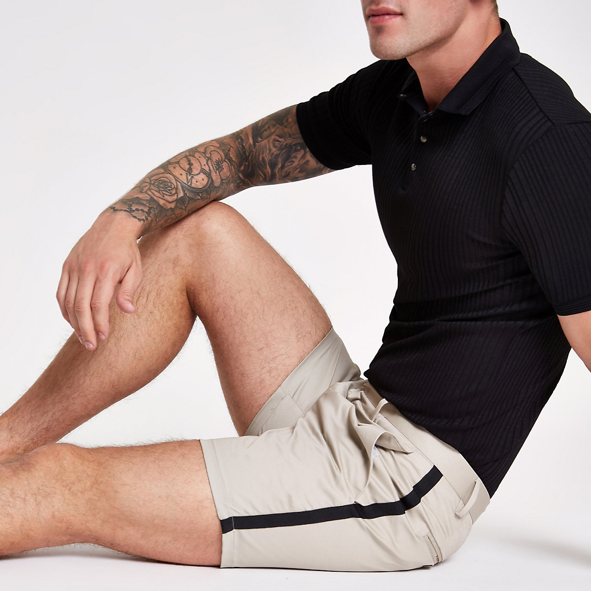 Brown tape side slim fit chino shorts