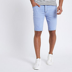 Light blue denim skinny fit shorts