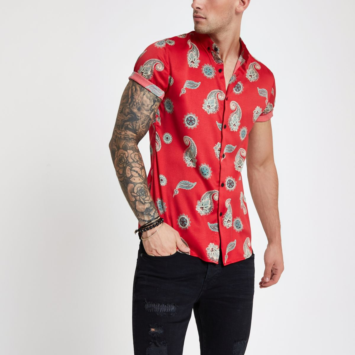 Red satin paisley slim fit short sleeve shirt
