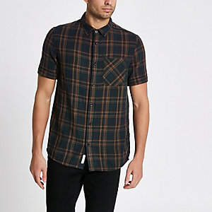 Green check double face short sleeve shirt